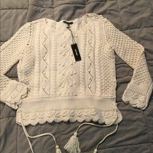 NWT Love Sam M Ivory cute sweater cashmere blend
